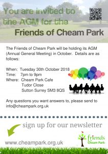 Friends of Cheam Park AGM @ Cheam Park Cafe